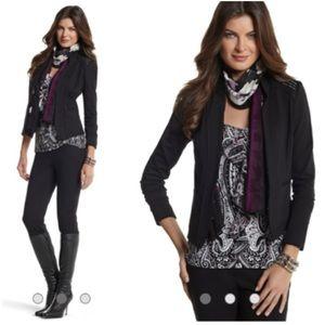 WHBM Black & Silver Studded Ponte Knit Jacket Sz 4